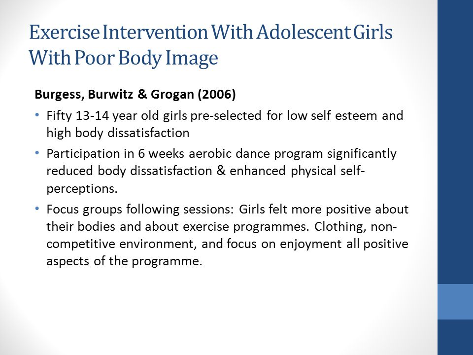 Exercise Intervention With Adolescent Girls With Poor Body Image