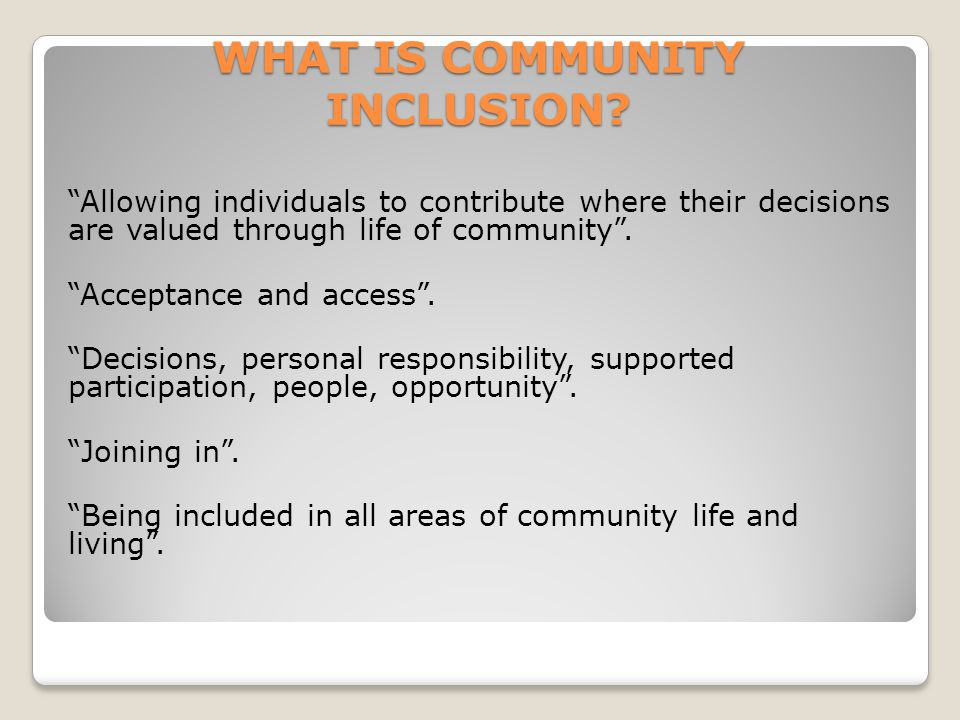 WHAT IS COMMUNITY INCLUSION