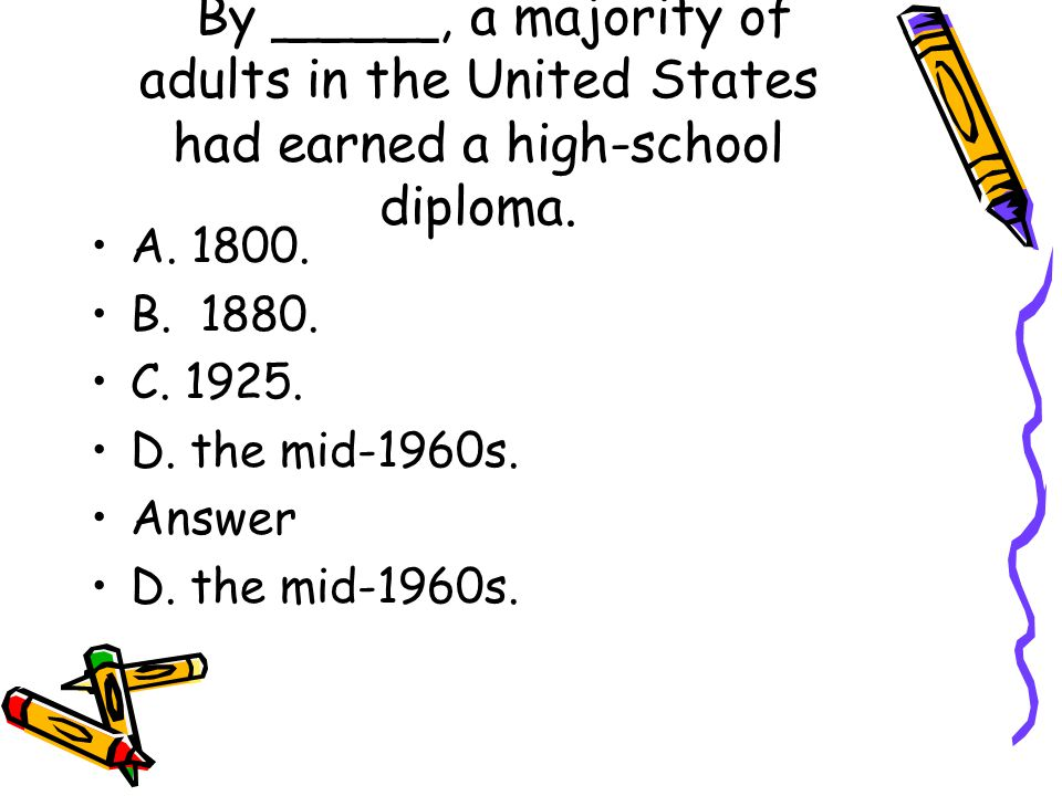 By _____, a majority of adults in the United States had earned a high-school diploma.