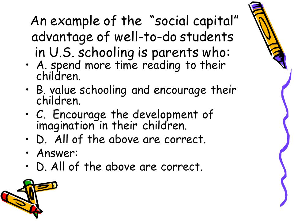 An example of the social capital advantage of well-to-do students in U.S. schooling is parents who: