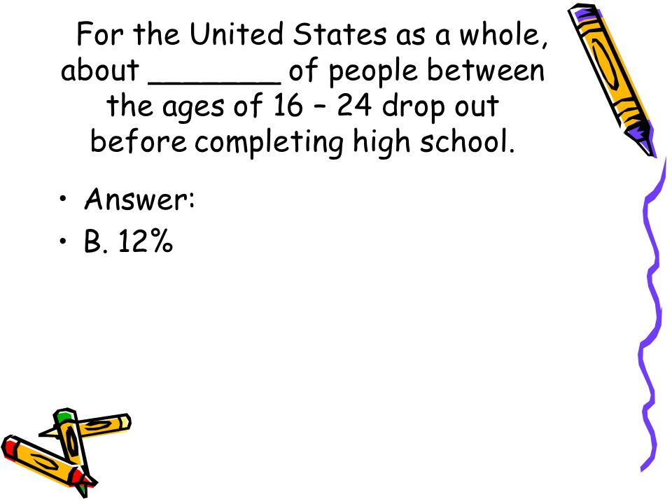 For the United States as a whole, about _______ of people between the ages of 16 – 24 drop out before completing high school.