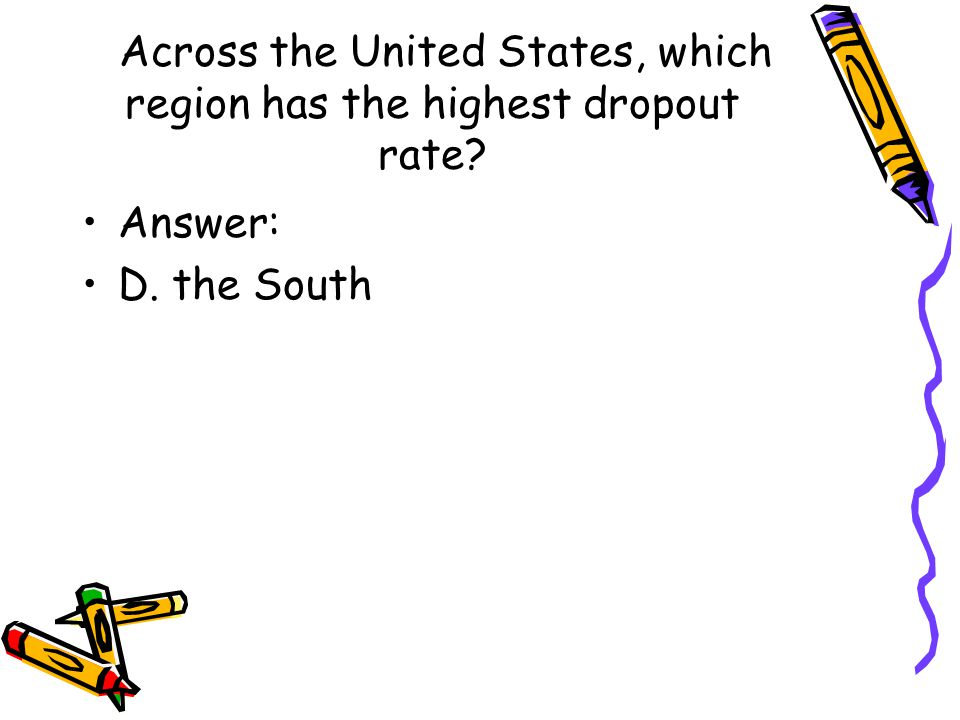 Across the United States, which region has the highest dropout rate