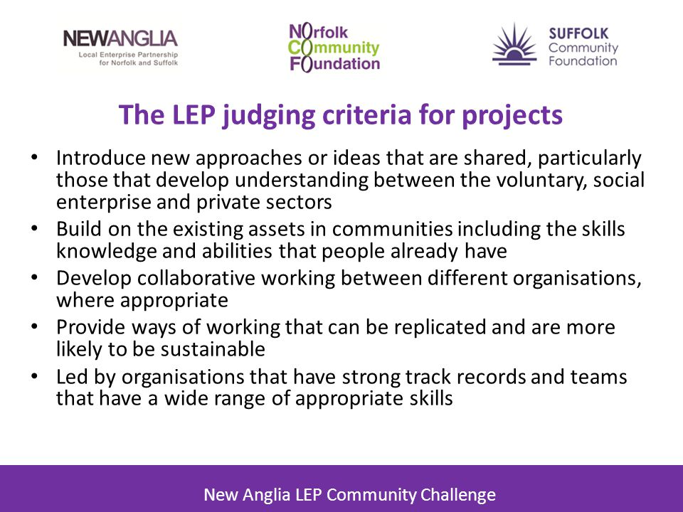 The LEP judging criteria for projects