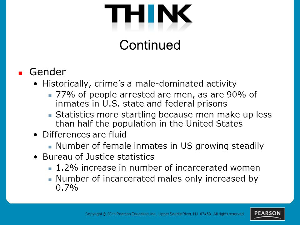 Continued Gender Historically, crime's a male-dominated activity