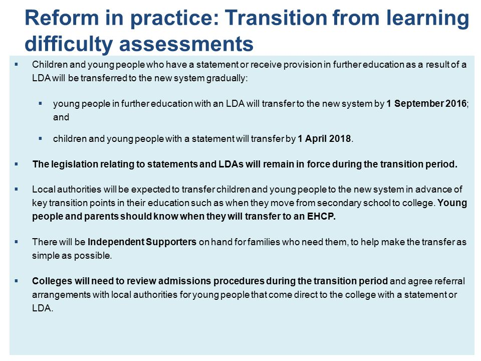 Reform in practice: Transition from learning difficulty assessments