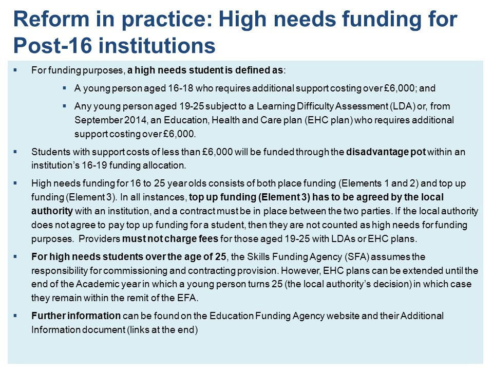 Reform in practice: High needs funding for Post-16 institutions