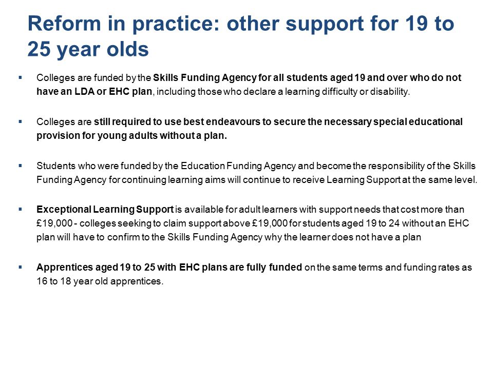 Reform in practice: other support for 19 to 25 year olds
