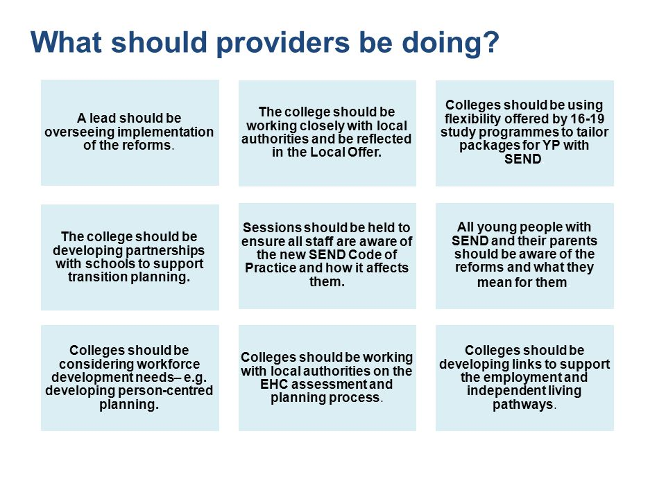 What should providers be doing