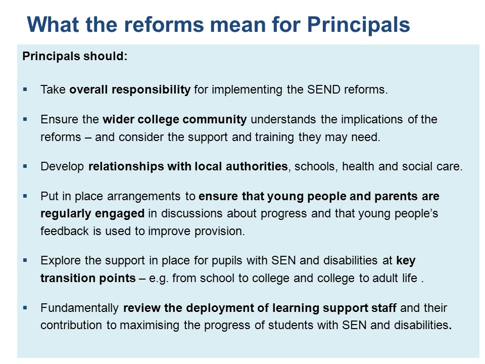 What the reforms mean for Principals