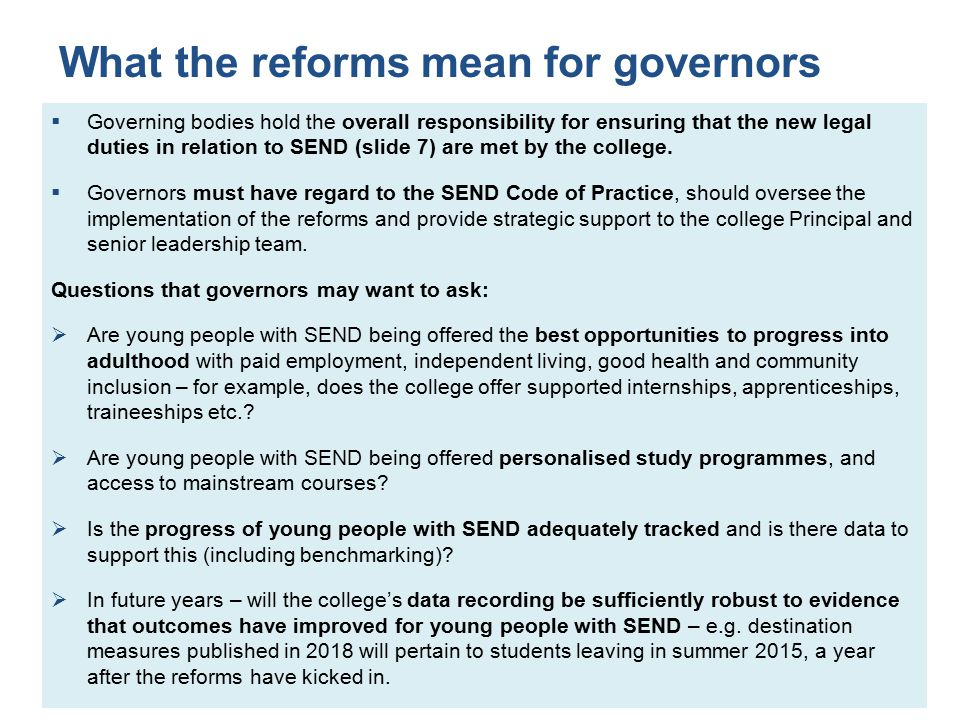 What the reforms mean for governors