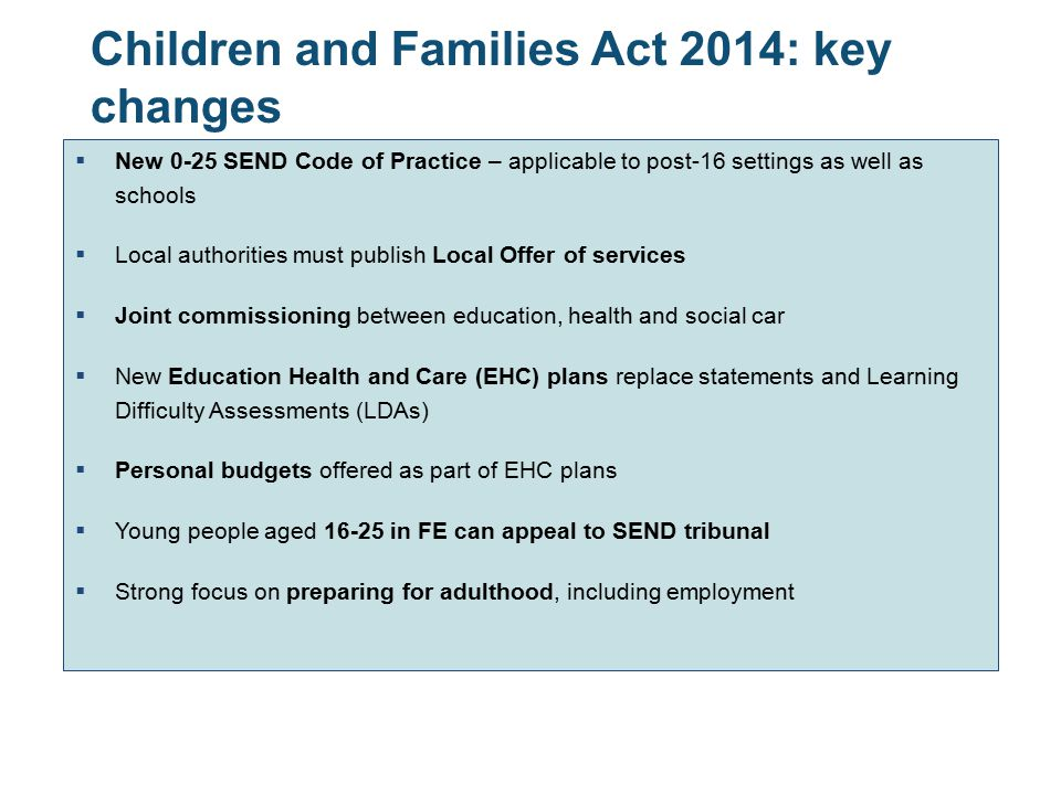 Children and Families Act 2014: key changes