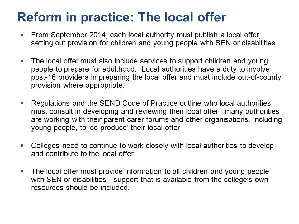 Reform in practice: The local offer