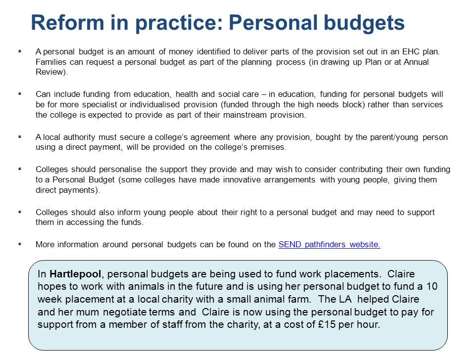 Reform in practice: Personal budgets