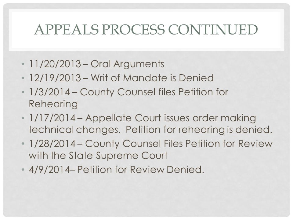 Appeals Process continued
