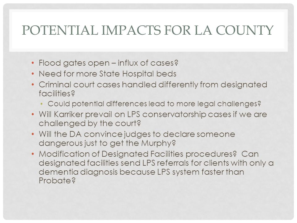 Potential Impacts for LA county