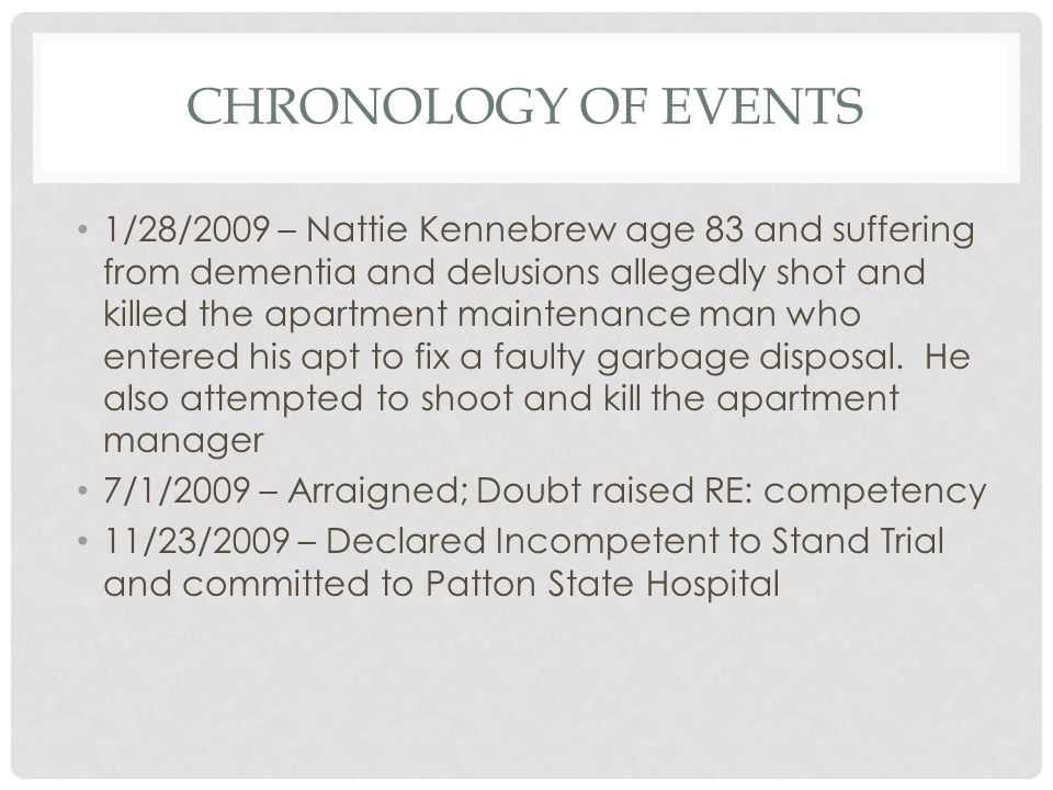 Chronology of events