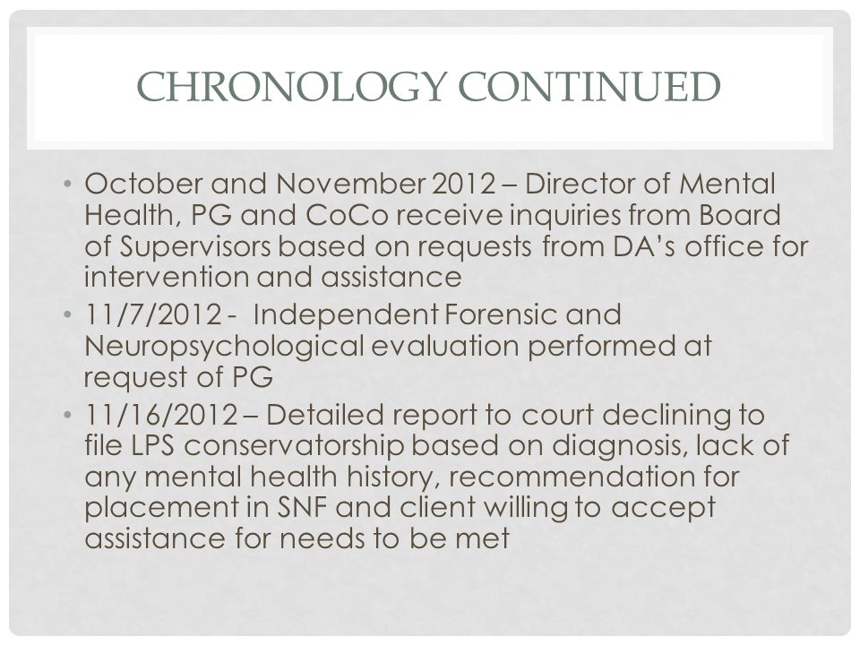 Chronology Continued
