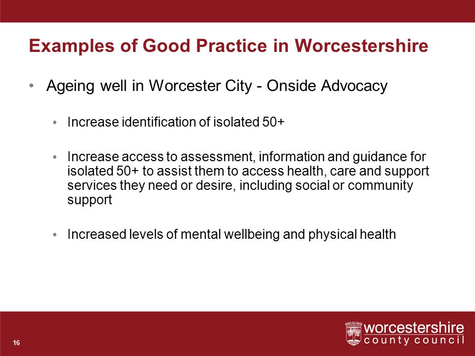 Examples of Good Practice in Worcestershire