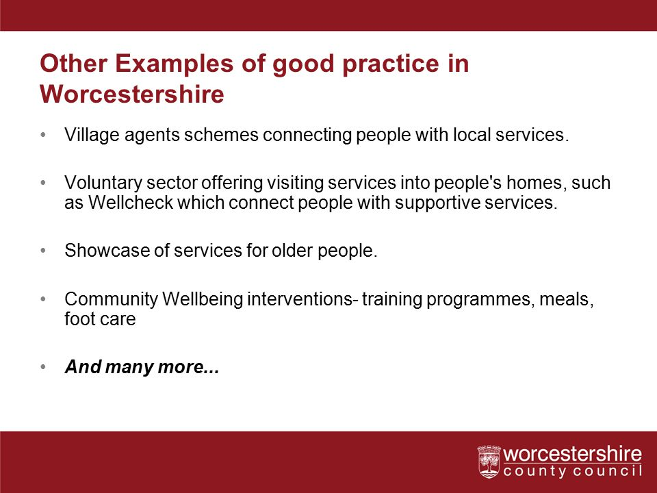 Other Examples of good practice in Worcestershire