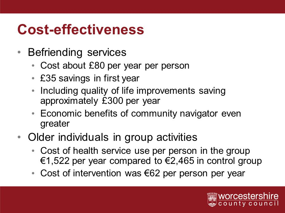 Cost-effectiveness Befriending services