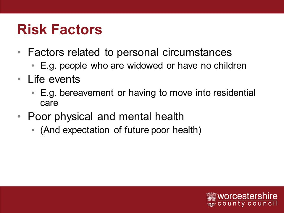 Risk Factors Factors related to personal circumstances Life events