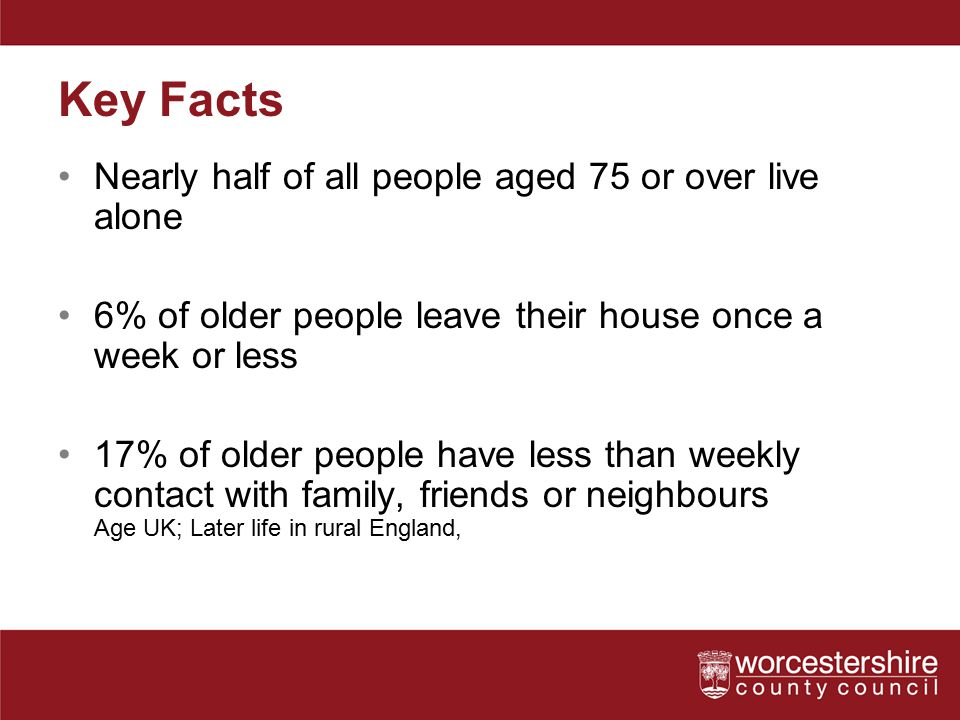 Key Facts Nearly half of all people aged 75 or over live alone