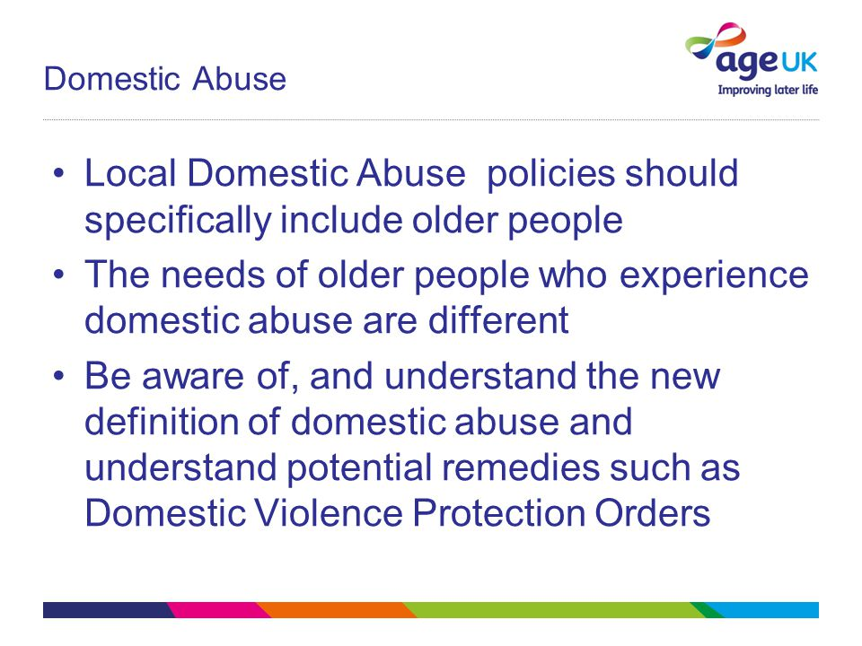 Local Domestic Abuse policies should specifically include older people