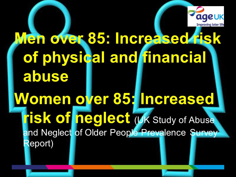 Men over 85: Increased risk of physical and financial abuse Women over 85: Increased risk of neglect (UK Study of Abuse and Neglect of Older People Prevalence Survey Report)
