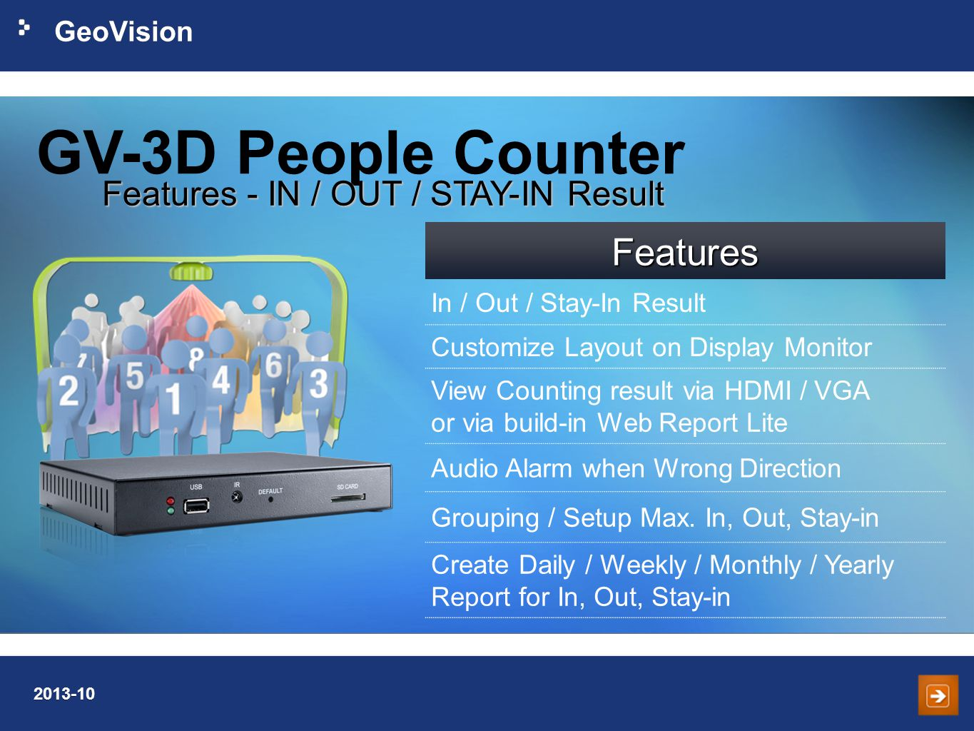 GV-3D People Counter Features Features - IN / OUT / STAY-IN Result