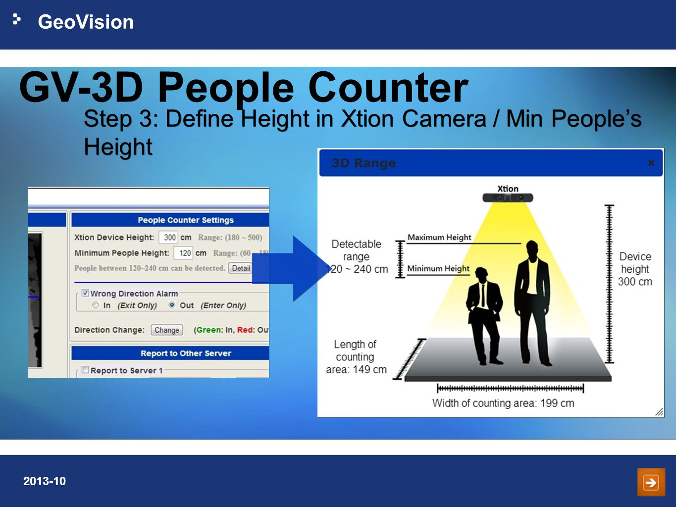 GV-3D People Counter Step 3: Define Height in Xtion Camera / Min People's Height