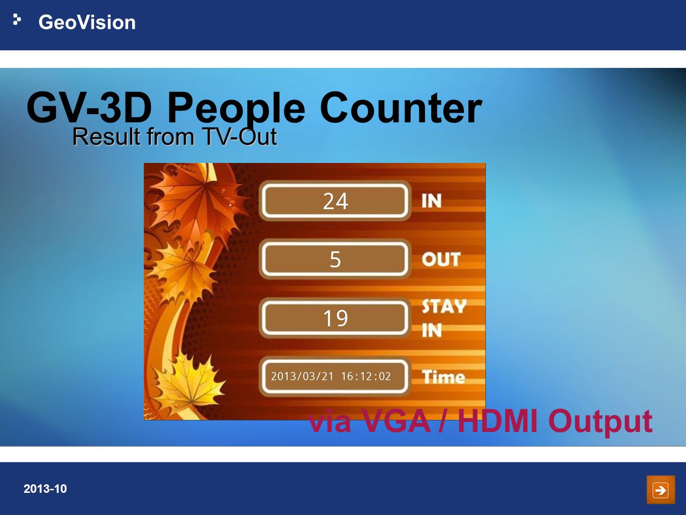 GV-3D People Counter Result from TV-Out via VGA / HDMI Output