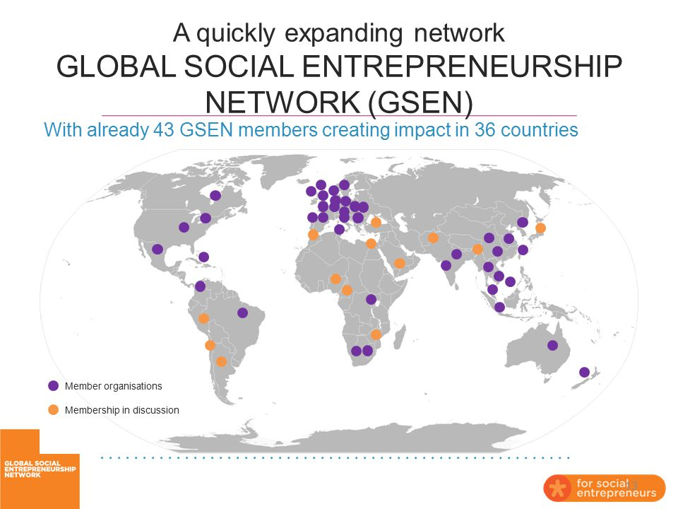 A quickly expanding network GLOBAL SOCIAL ENTREPRENEURSHIP NETWORK (GSEN)