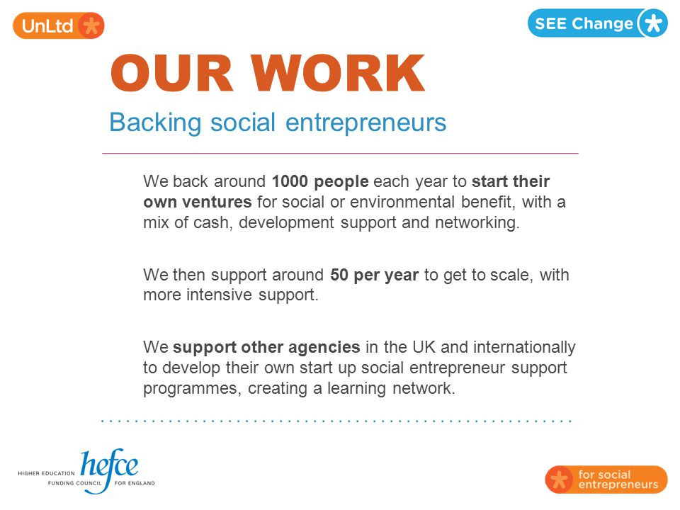 OUR WORK Backing social entrepreneurs