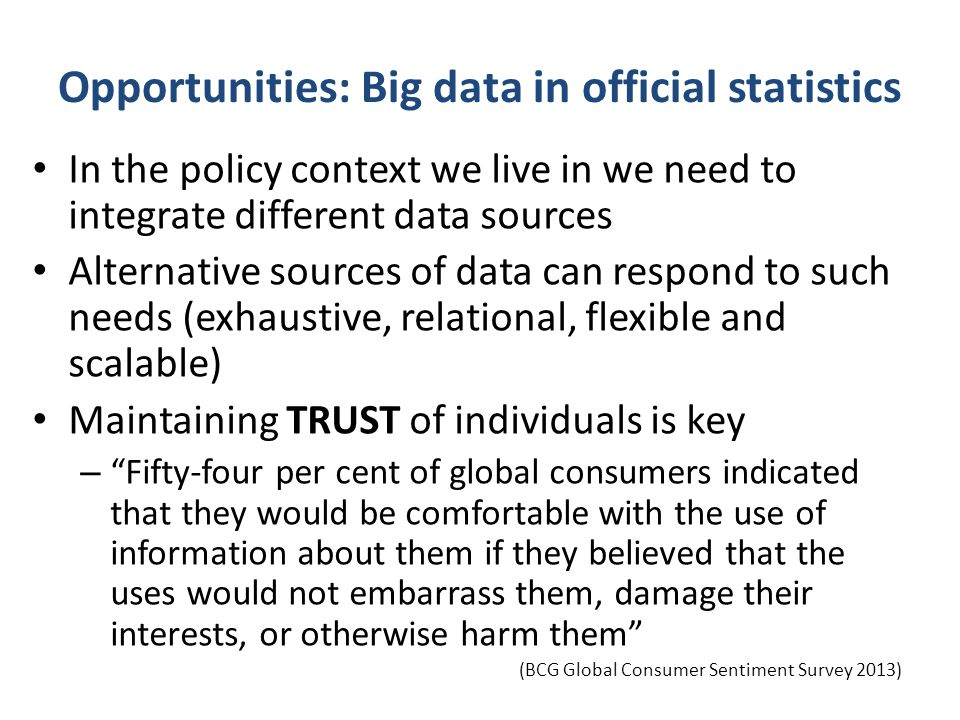 Opportunities: Big data in official statistics