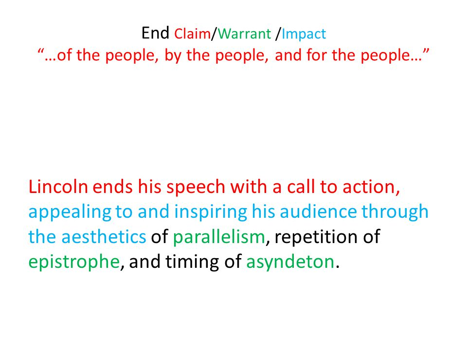 End Claim/Warrant /Impact …of the people, by the people, and for the people…