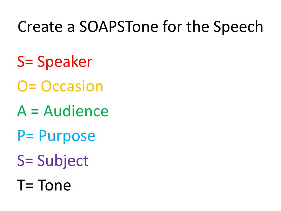 Create a SOAPSTone for the Speech