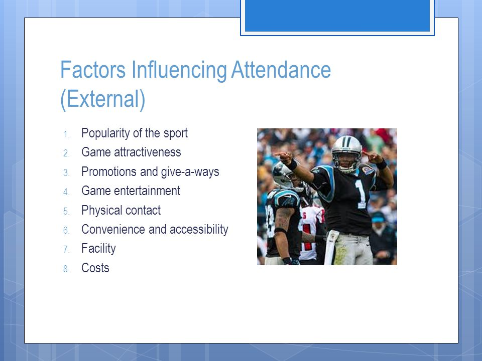 Factors Influencing Attendance (External)