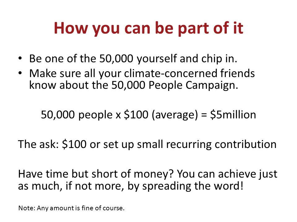 50,000 people x $100 (average) = $5million