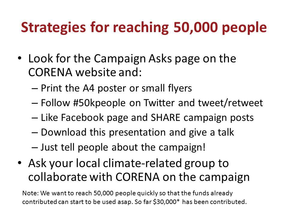 Strategies for reaching 50,000 people