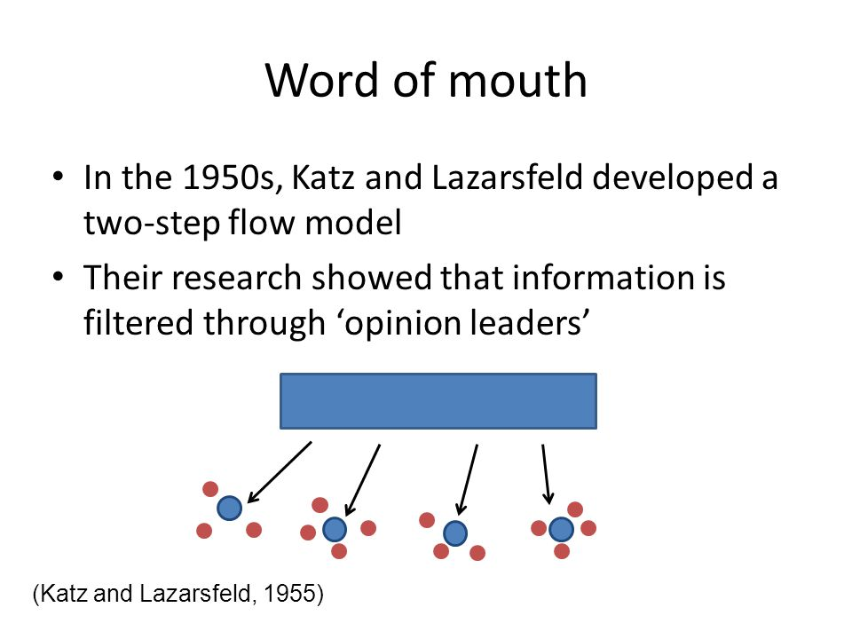 Word of mouth In the 1950s, Katz and Lazarsfeld developed a two-step flow model.