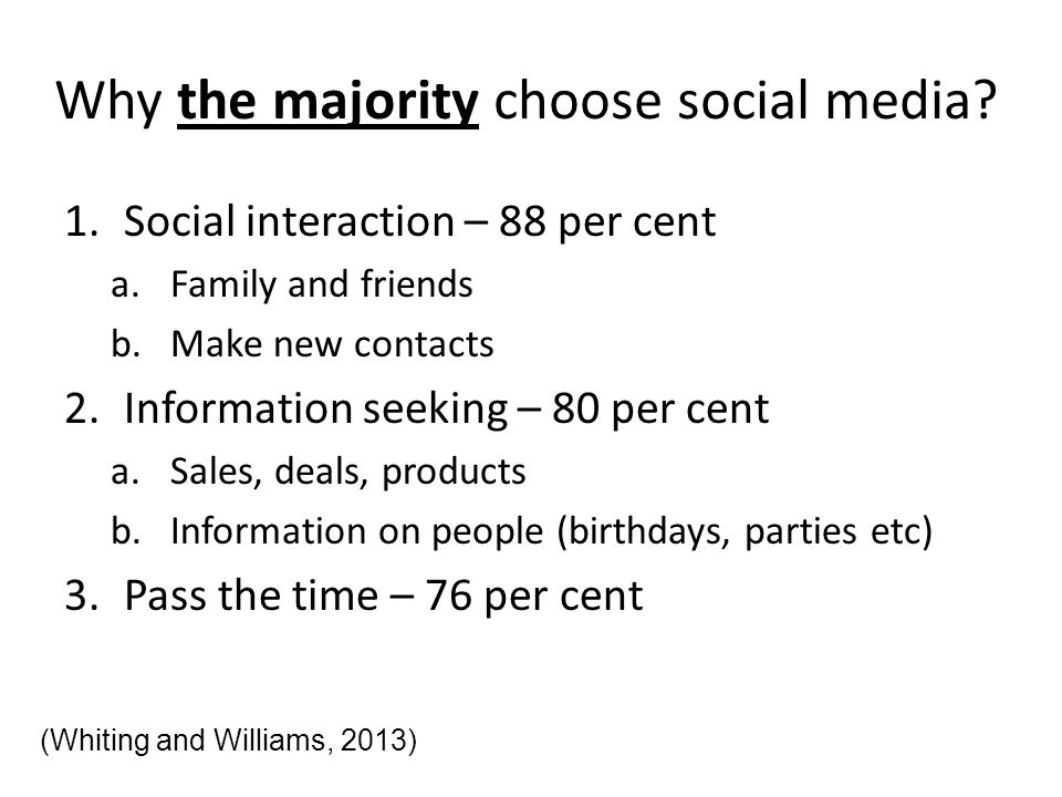 Why the majority choose social media