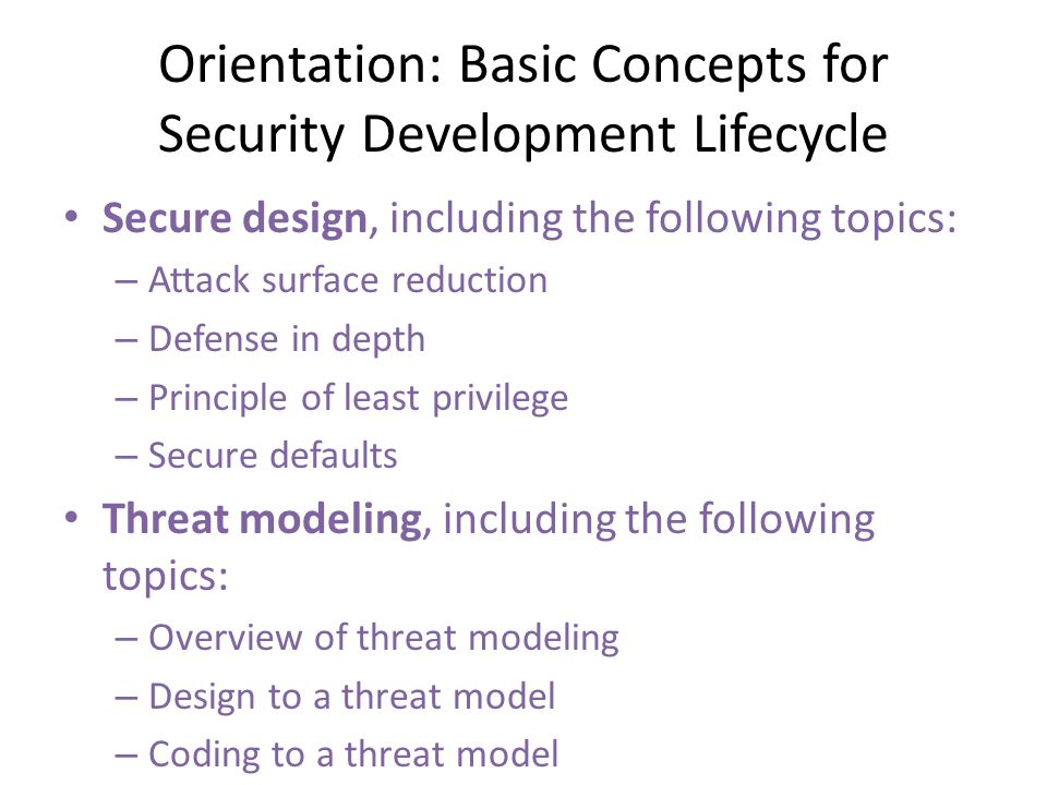 Orientation: Basic Concepts for Security Development Lifecycle