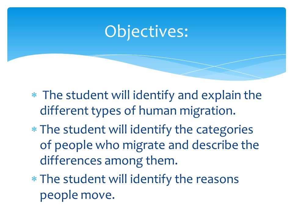 Objectives: The student will identify and explain the different types of human migration.
