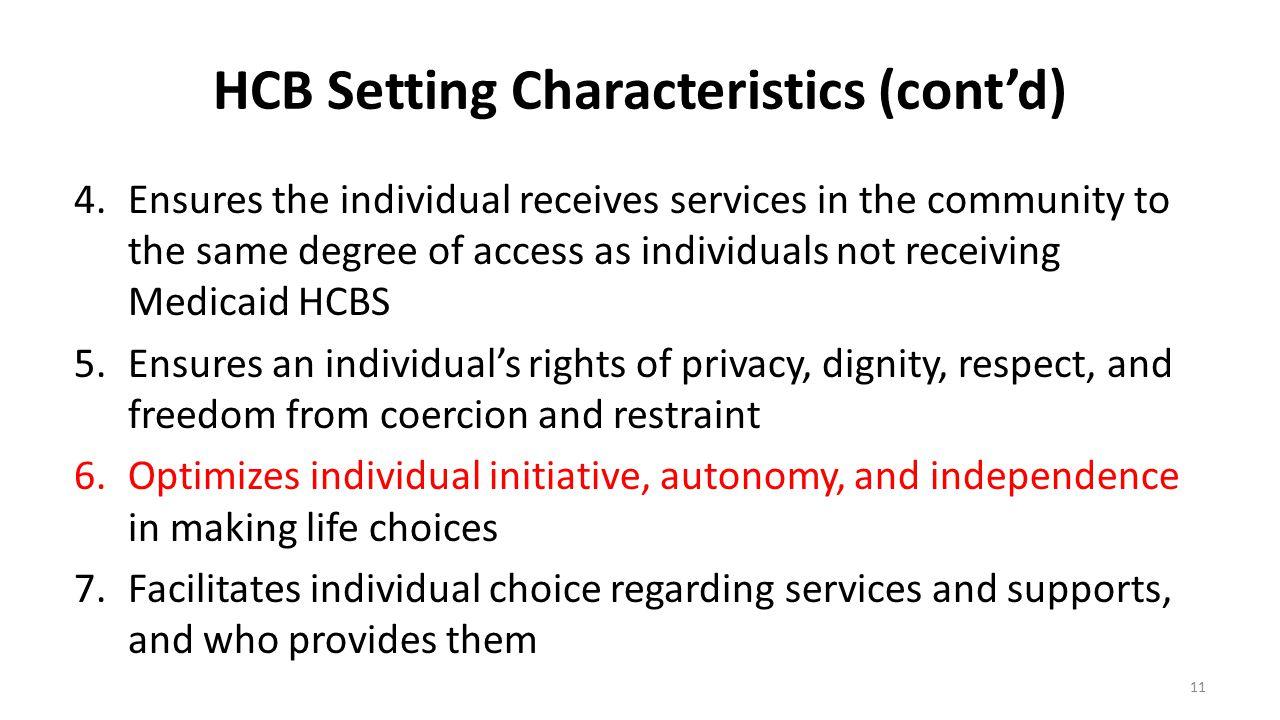 HCB Setting Characteristics (cont'd)