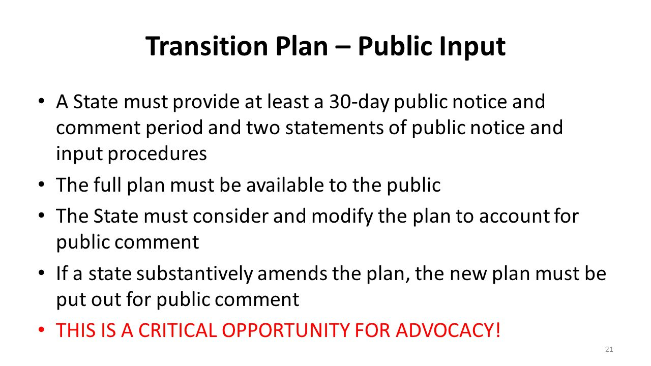 Transition Plan – Public Input