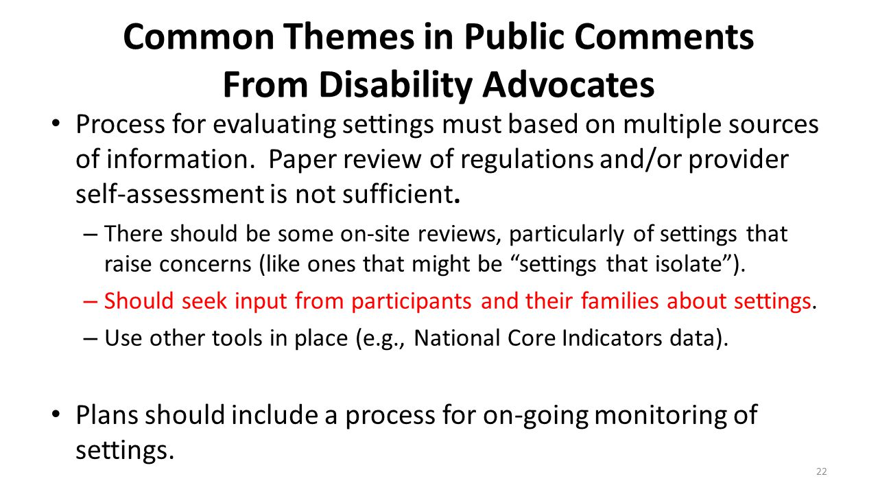 Common Themes in Public Comments From Disability Advocates