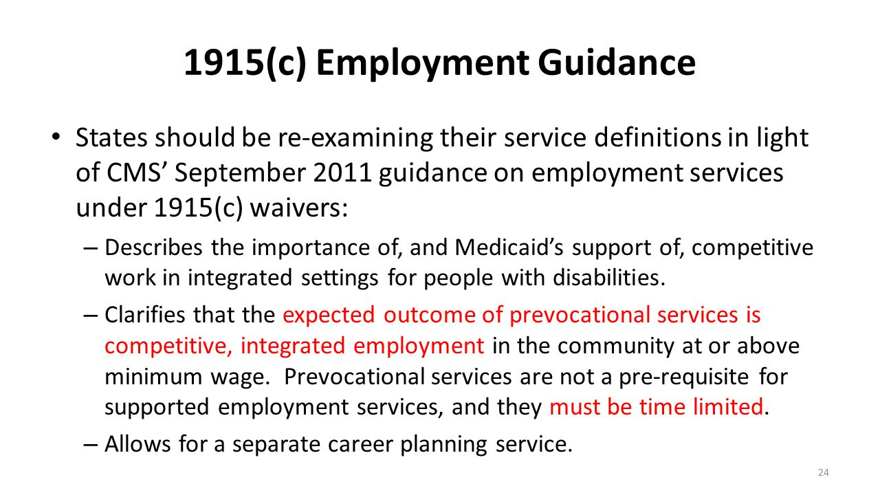 1915(c) Employment Guidance