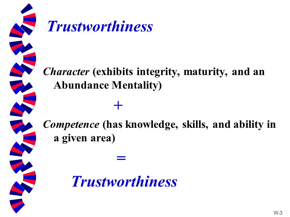 Trustworthiness Character (exhibits integrity, maturity, and an Abundance Mentality) +