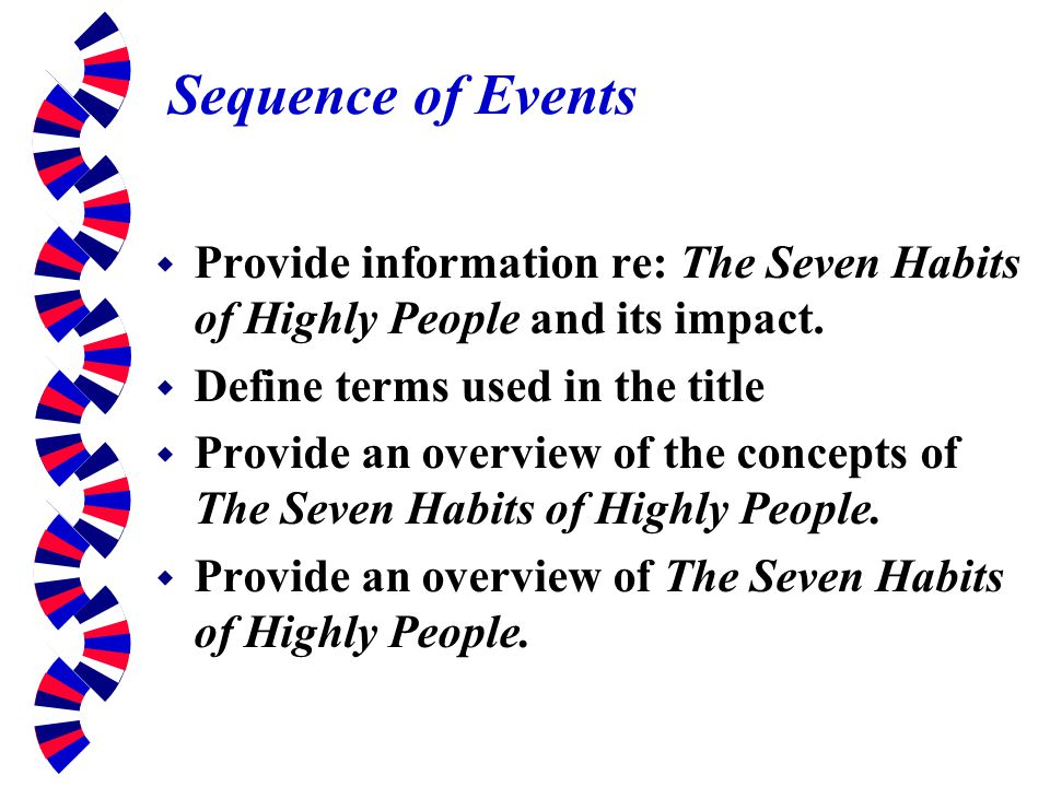 Sequence of Events Provide information re: The Seven Habits of Highly People and its impact. Define terms used in the title.