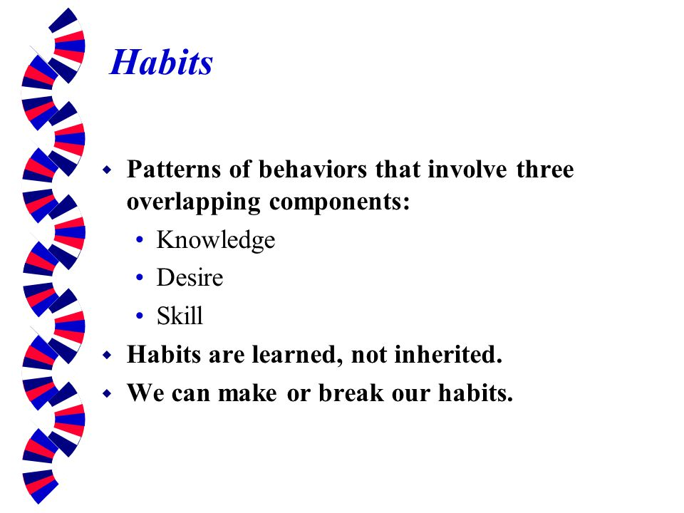 Habits Patterns of behaviors that involve three overlapping components: Knowledge. Desire. Skill.